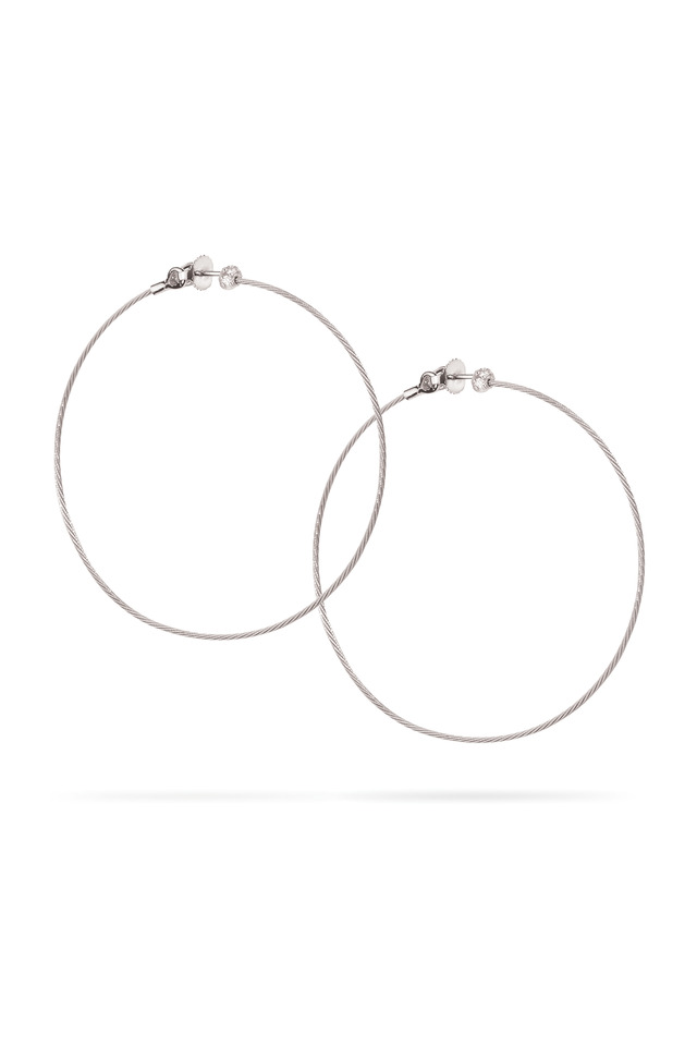 18K White Gold & Diamond Accent Wire Hoops
