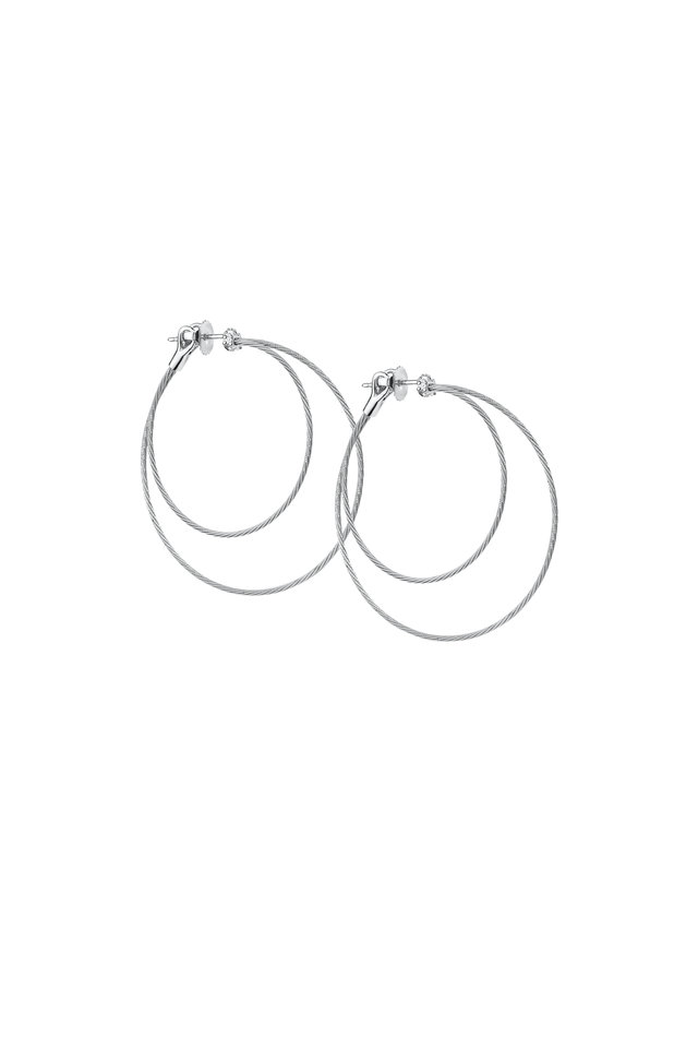White Gold Diamond Double Wire Hoops