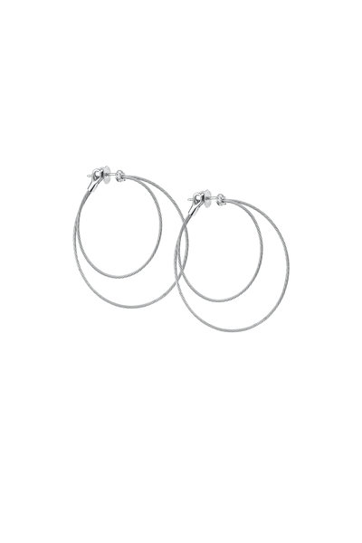 Paul Morelli - White Gold Diamond Double Wire Hoops