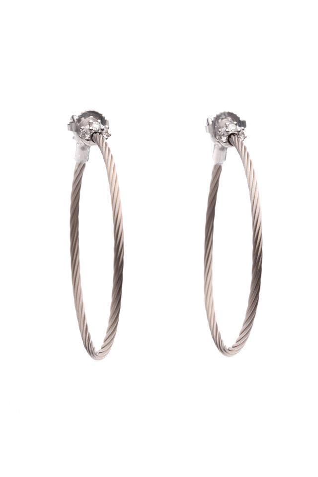 White Gold Diamond Wire Hoop Earrings