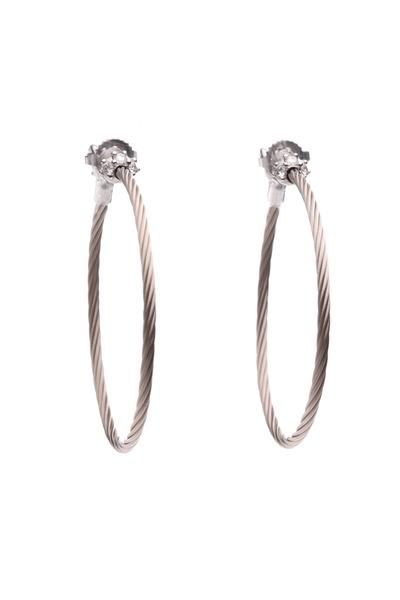 Paul Morelli - White Gold Diamond Wire Hoop Earrings