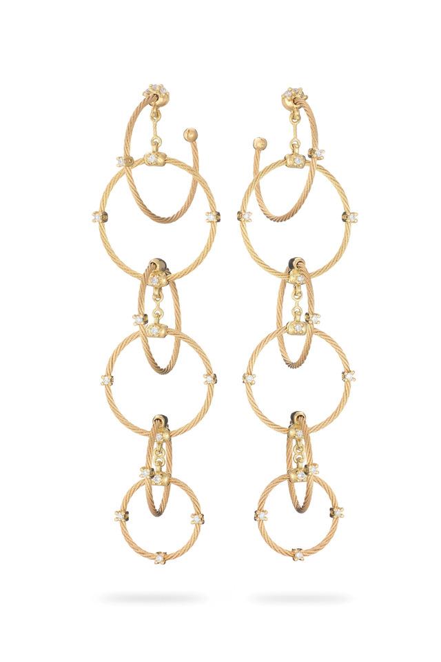 18K Gold & Diamond Chain Wire Earrings