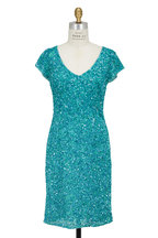Theia - Aqua Sequin Cap-Sleeve Cocktail Dress
