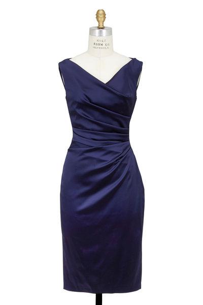 Talbot Runhof - Navy Blue Satin Draped Sleeveless Dress