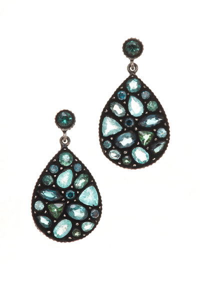 Yossi Harari - Sara Gold Paraiba Tourmaline Blue Mosaic Earrings