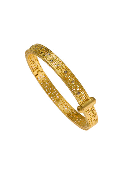 Yossi Harari - Yellow Gold Lace Champagne Diamond Ring