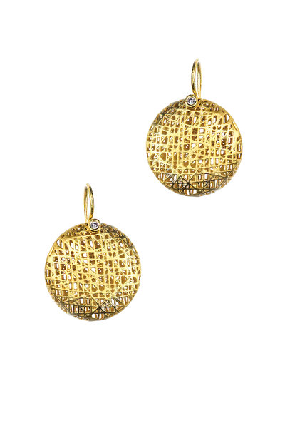 Yossi Harari - 18K Yellow Gold Lace Champagne Diamond Earrings