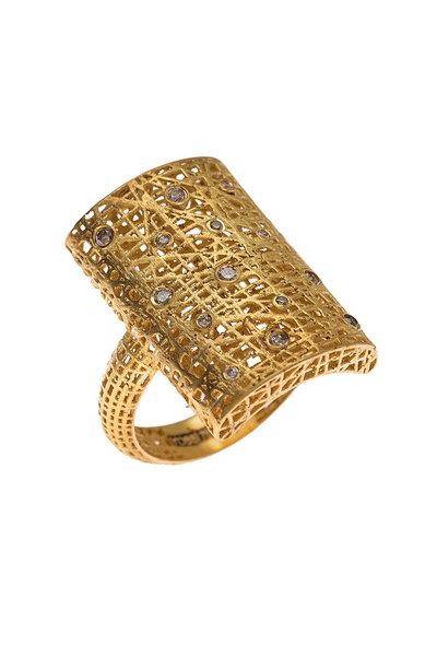 Yossi Harari - Yellow Gold Lace Champagne Diamond Ring