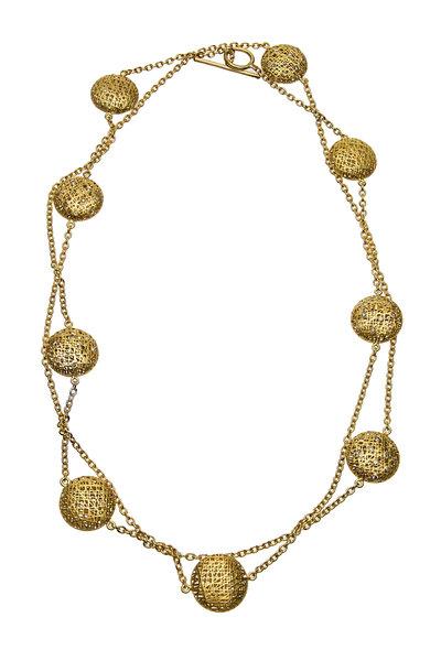 Yossi Harari - Yellow Gold Lace Diamond Wrap Necklace