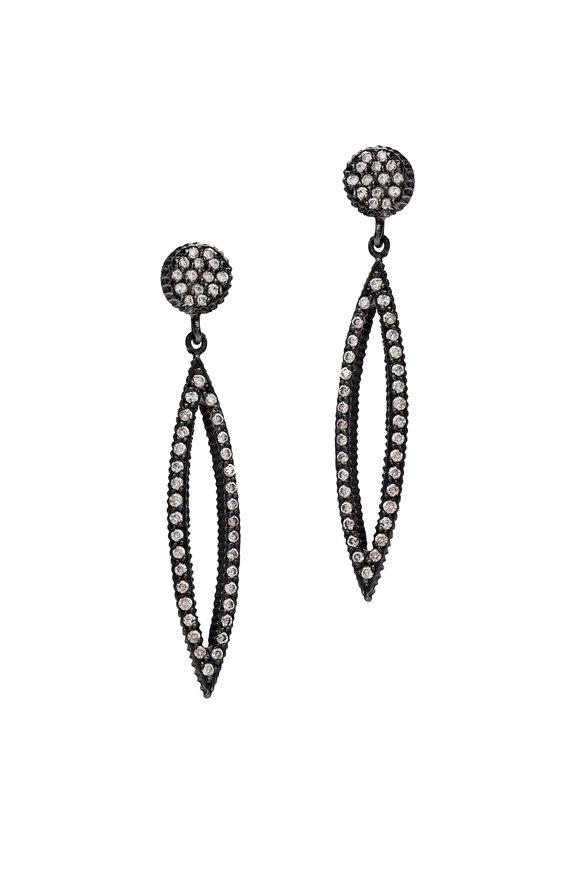 Yossi Harari Lilah Gold & Silver Marquise Pavé Diamond Earrings