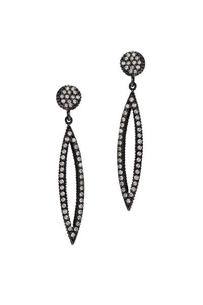 Yossi Harari - Lilah Gold & Silver Marquise Pavé Diamond Earrings