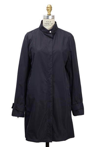 Brunello Cucinelli - Navy Blue Taffeta Trenchcoat