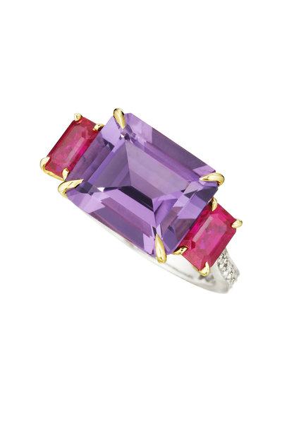 Paolo Costagli - Gold Amethyst Ruby Diamond Florentine Ring