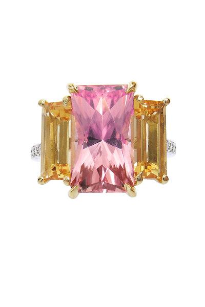 Paolo Costagli - Platinum Tourmaline & Imperial Topaz Diamond Ring