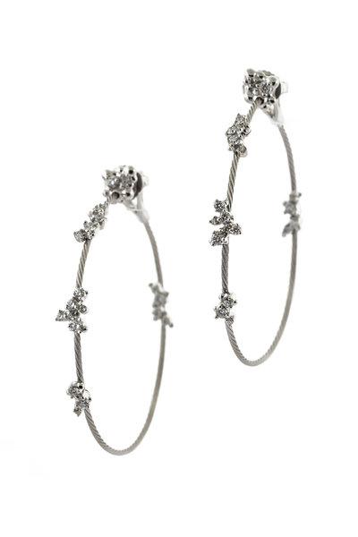 Paul Morelli - 18K White Gold Wire Confetti Diamond Hoops