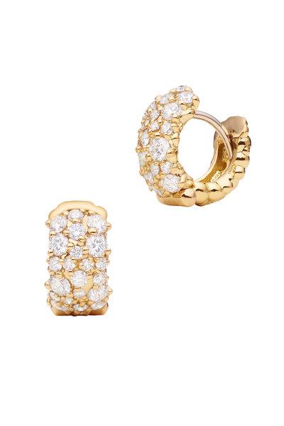 Paul Morelli - 18K Yellow Gold Confetti Diamond Hoops