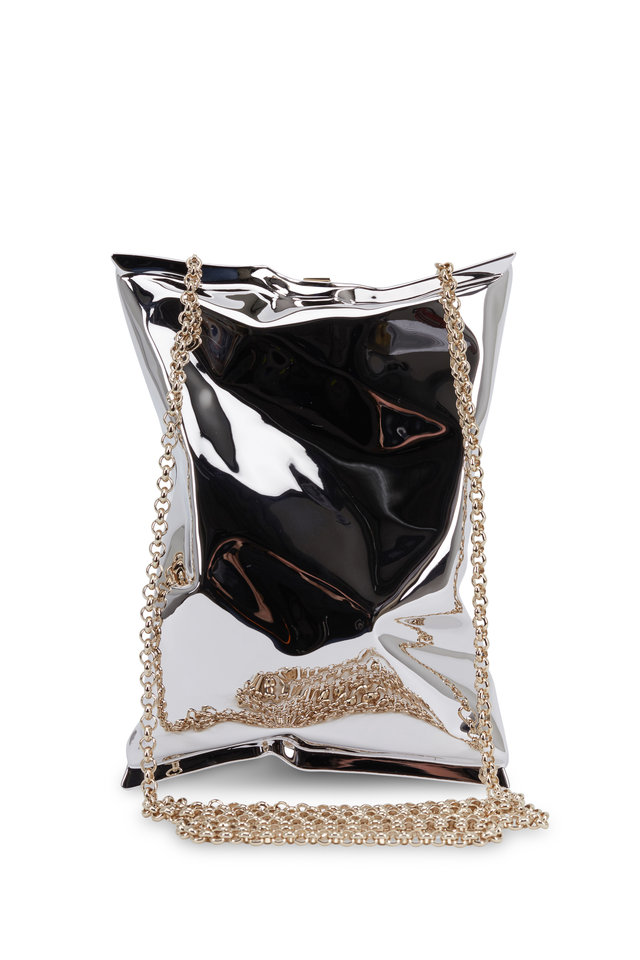 Crisp Packet Silver Metal Hard Clutch