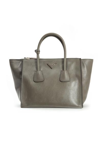 Prada - Soft Grey Leather Lockflap Satchel