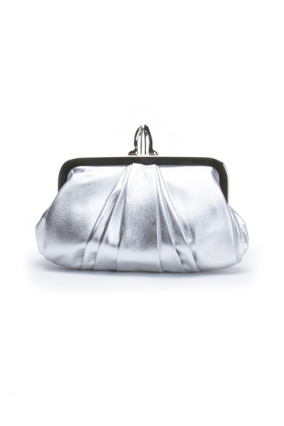 Christian Louboutin - Silver Mini Rouched Frame Clutch