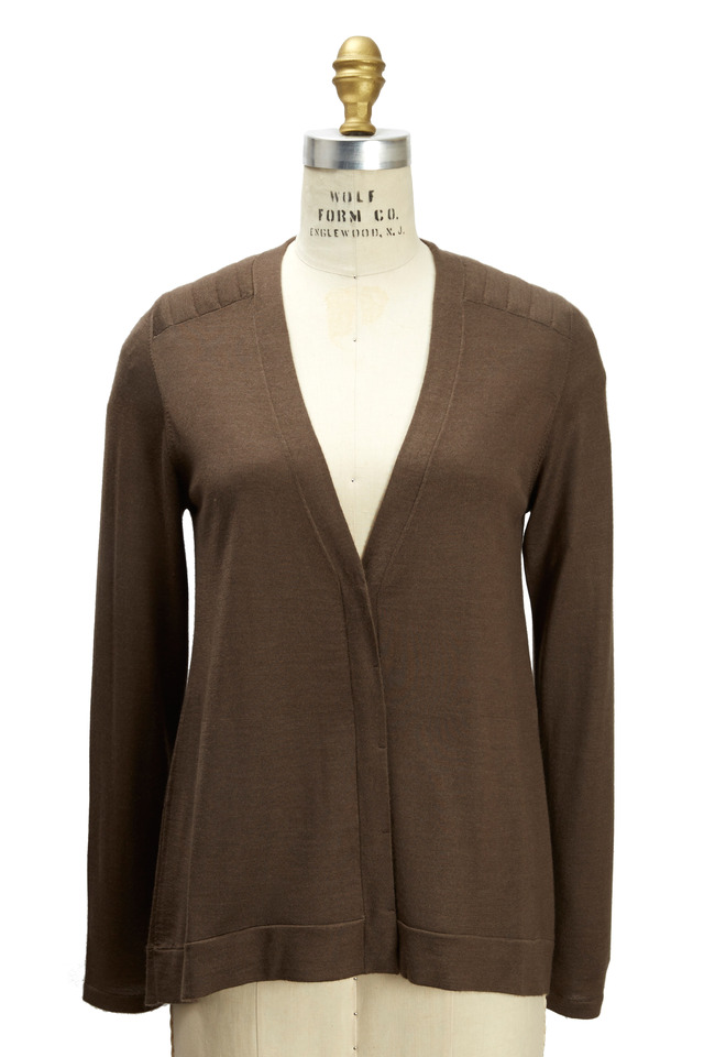 Brown Cashmere & Silk Biker Cardigan