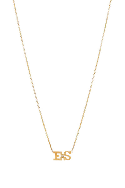 Zoe Chicco - Yellow Gold Double Initial Diamond Pendant