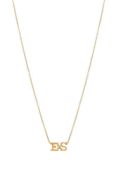 Zoe Chicco - Yellow Gold Double Initial Diamond Pendant