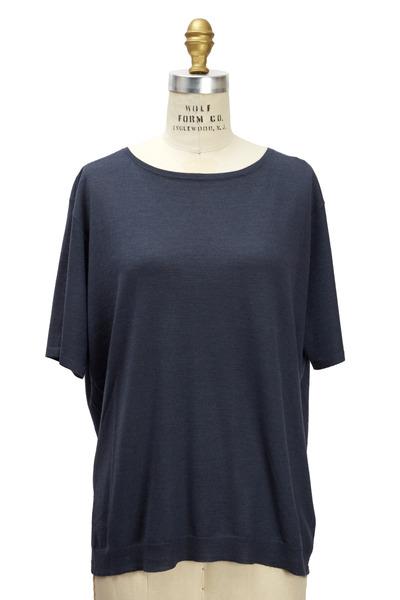 Brunello Cucinelli - Navy Blue Cashmere & Silk  Pullover
