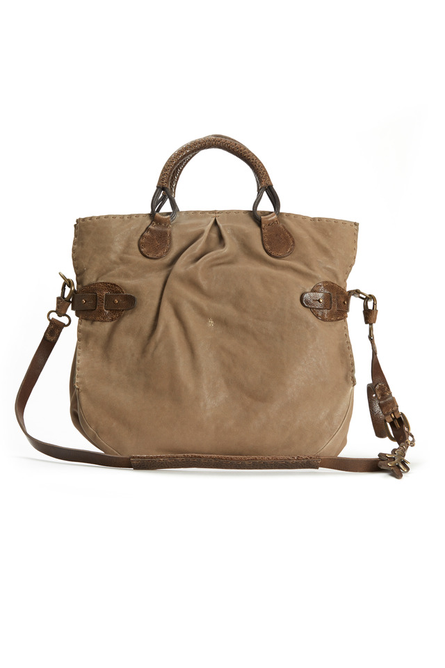 Taupe Leather East West Cinched Shopper