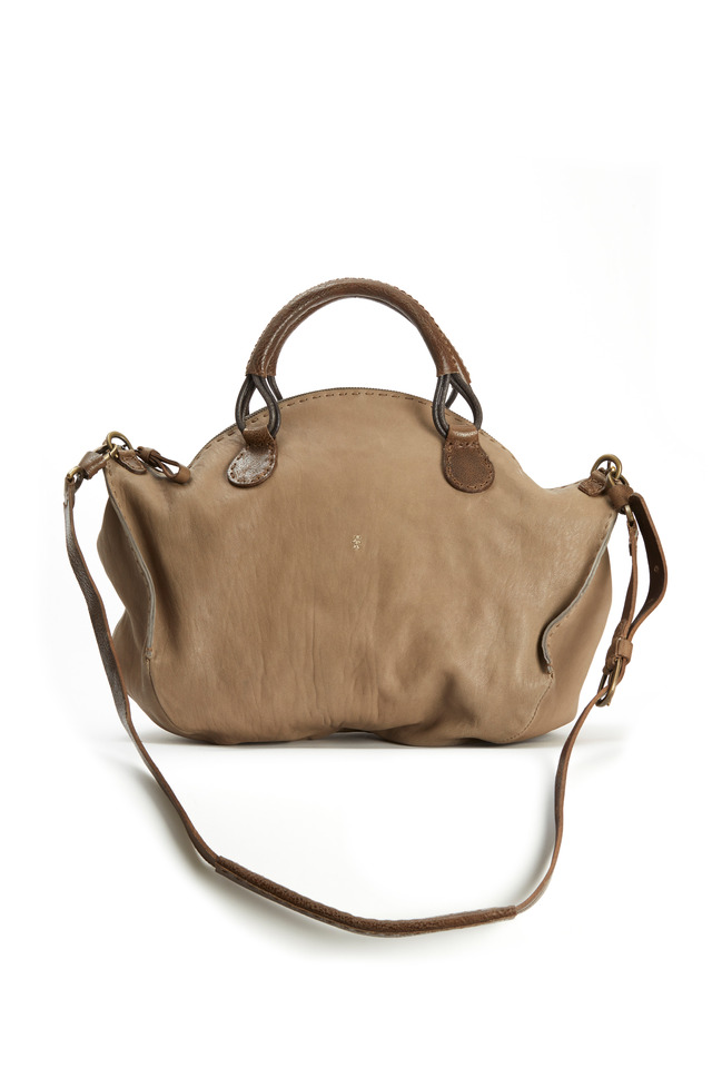 Jessica Taupe Leather Satchel