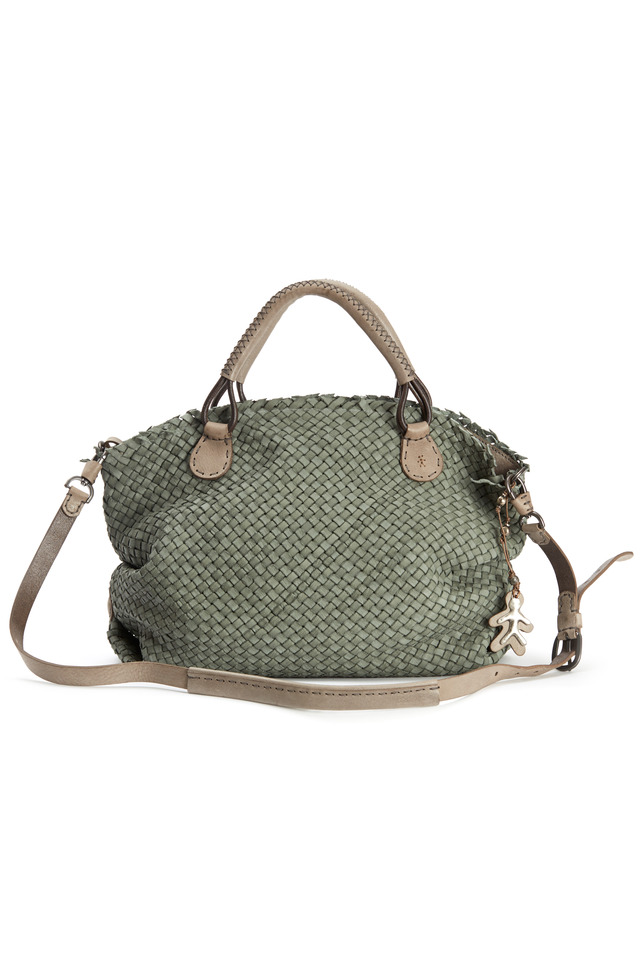 Agnes M Washed Green Woven Leather Satchel
