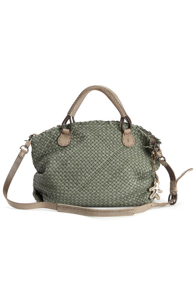 Henry Beguelin - Agnes M Washed Green Woven Leather Satchel
