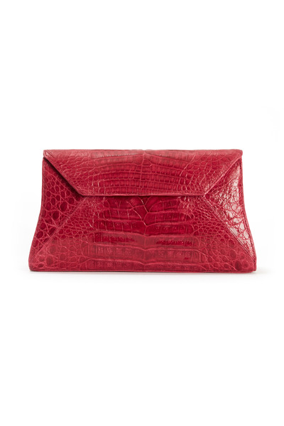 Nancy Gonzalez - Raspberry Crocodile Envelope Clutch