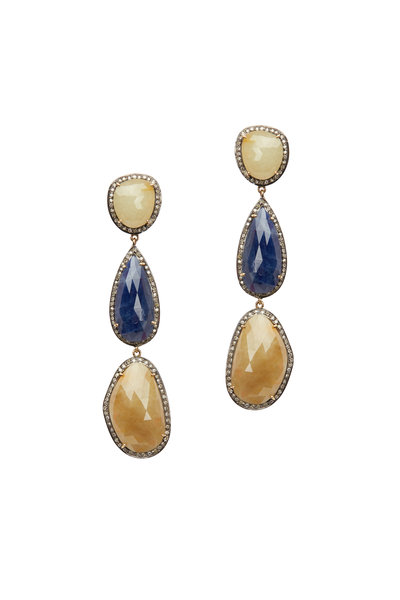 Loren Jewels - Gold Multi Color Sapphire & Diamond Earrings