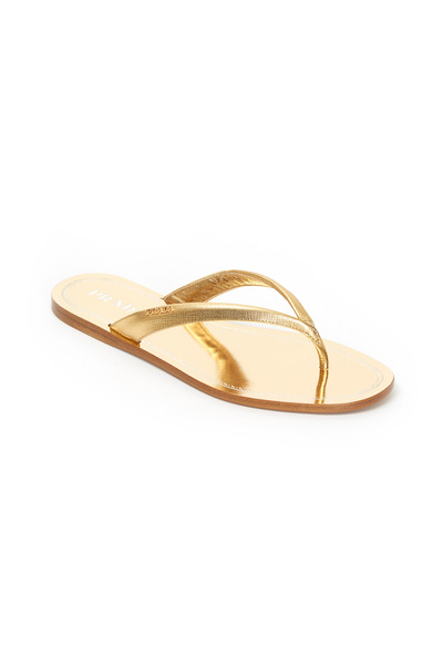 Prada - Metallic Gold Patent Leather Thong Sandals