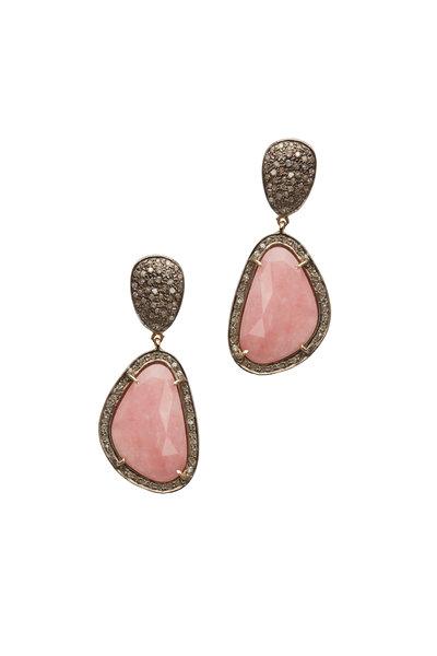 Loren Jewels - 14K Gold & Silver Pink Opal & Diamond Earrings