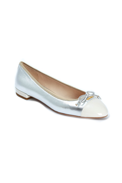 Prada - Silver & White Leather Cap Toe Ballet Flats