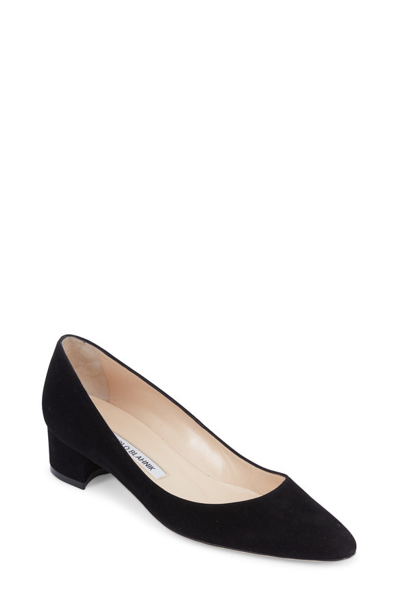 Manolo Blahnik Listony Black Suede Low-Heel Pump, 30mm