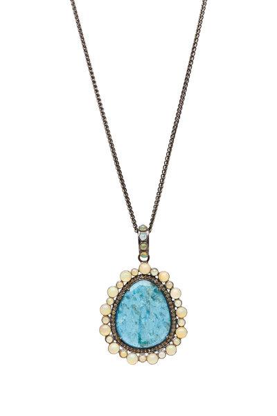 Loriann - Yellow Gold Apatite Sapphire Opal Necklace
