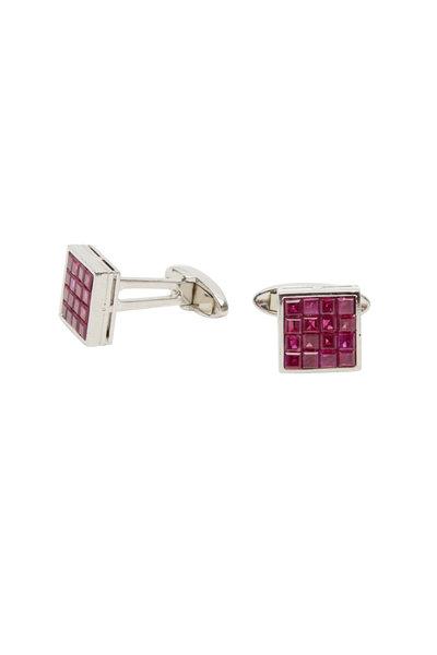 Oscar Heyman - Platinum Square Ruby Cuff Links