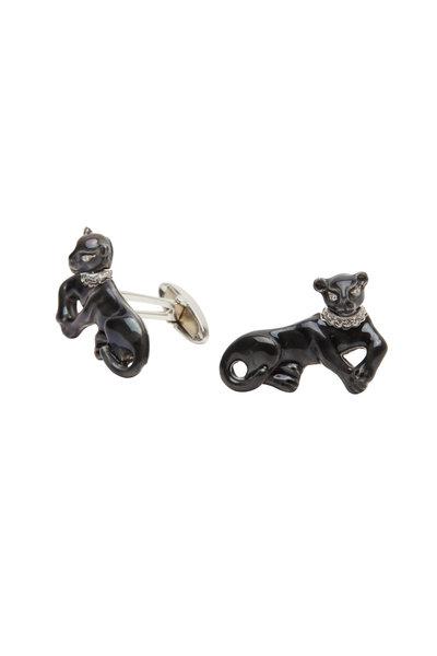 Oscar Heyman - Platinum Black Enamel Diamond Cat Cuff Links