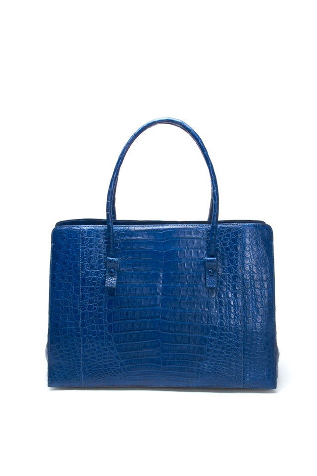 Square Navy Blue Crocodile Medium Tote