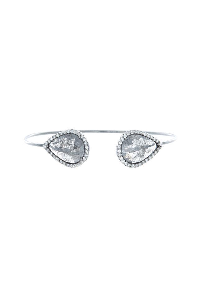 White Gold Black & White Diamond Cuff Bracelet