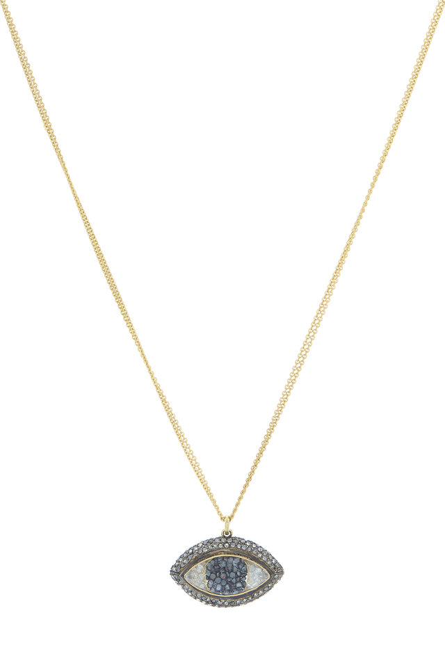 Yellow Gold Diamond Third Eye Shake Necklace