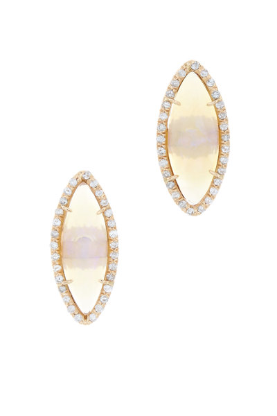 Kimberly McDonald - Rose Gold Faceted White Opal Diamond Stud Earrings