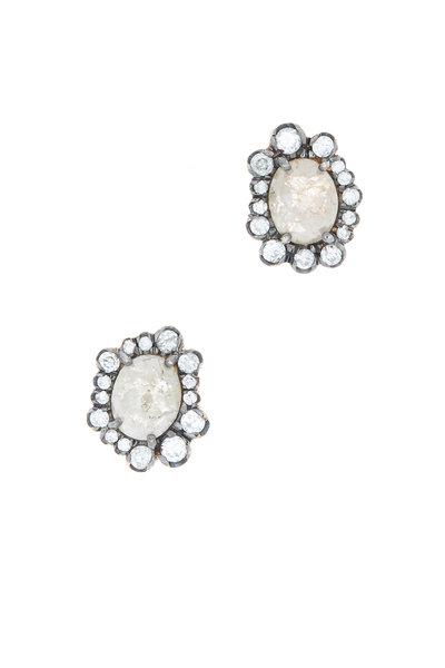 Kimberly McDonald - Rose Gold Opaque & Irregular Diamond Stud Earrings
