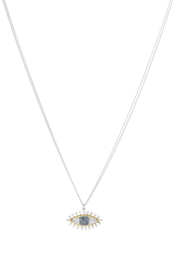 Renee Lewis Gold Black & White Diamond Third Eye Necklace