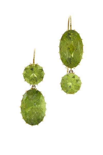 Renee Lewis - Yellow Gold Green Peridot Earrings