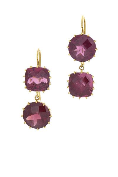 Renee Lewis - Yellow Gold Pink Tourmaline Earrings