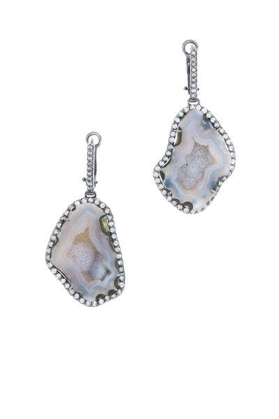 Kimberly McDonald - White Gold Lavender Geode Diamond Earrings