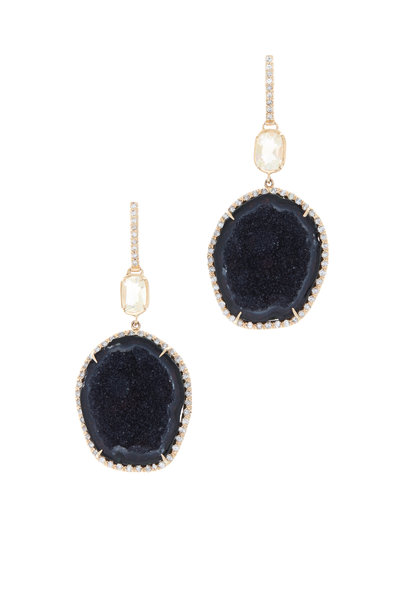 Kimberly McDonald - Rose Gold Geode & Water Opal Diamond Drop Earrings